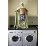 towel - boy in laundry with towel as cape
