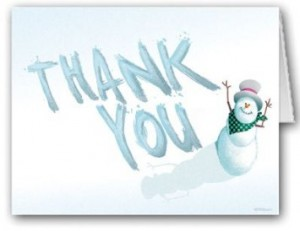 thank you cards - holiday with snowman - amazon