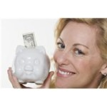 piggy bank with woman smiling