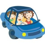 car - illustration - family in car with smiles