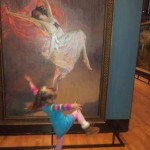 life - child dancing in front of dancing wmn in painting