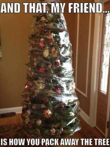 christmas - tree shrink wrapped w decorations